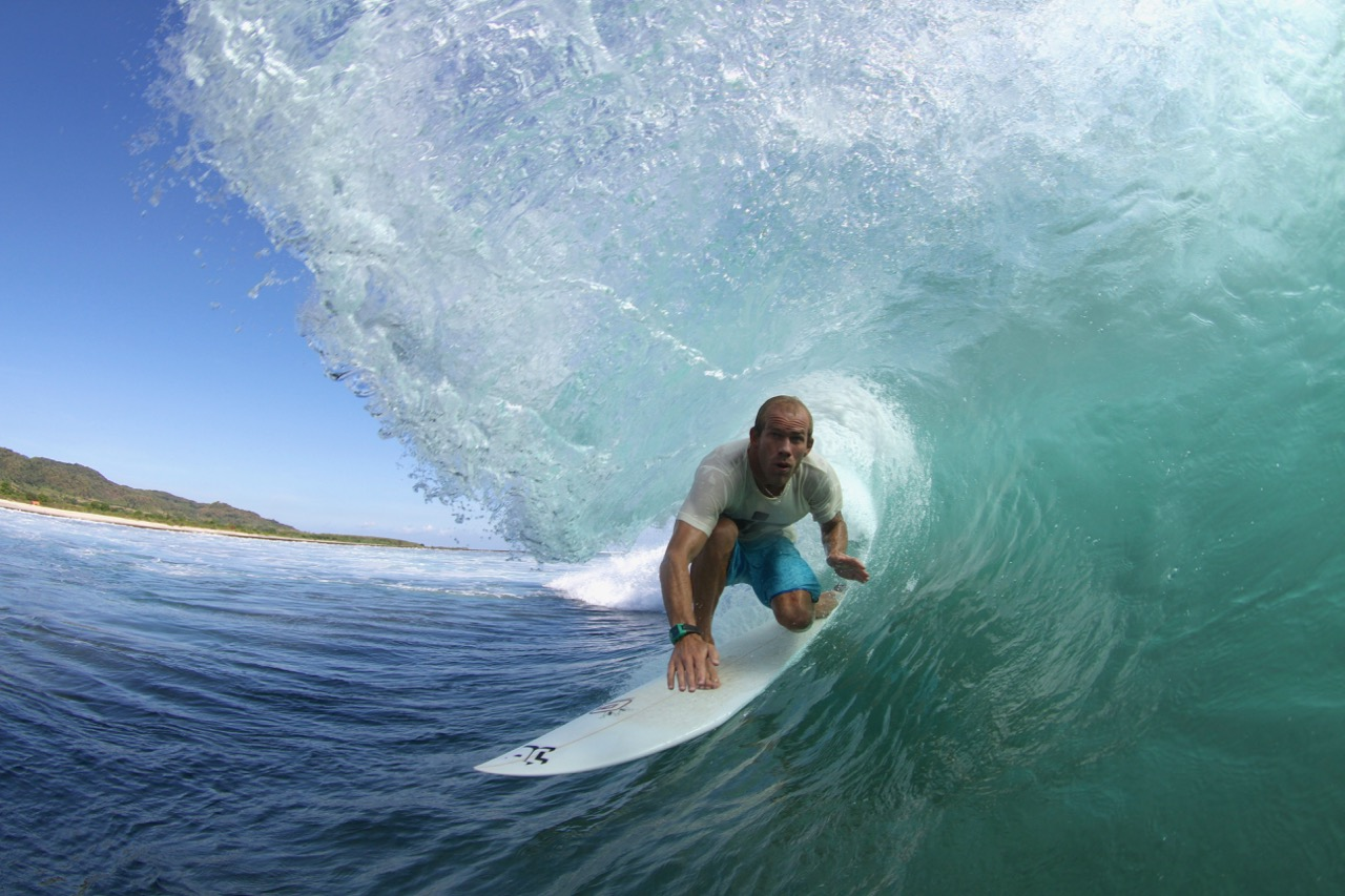 Chris Bond in the barrel at Lakey Pipe, Indonesia